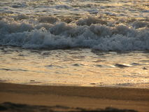 Заход солнца пляжа небо захода солнца с завальцовкой волны Стоковые Фото