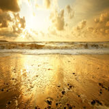 заход солнца пляжа песочный Стоковые Изображения