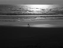 заход солнца пляжа сценарный Стоковые Фотографии RF