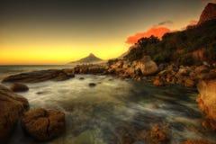 Заход солнца пляжа Южной Африки Кейптауна Стоковое фото RF