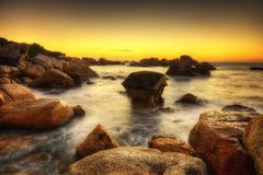 Заход солнца пляжа Южной Африки Кейптауна Стоковая Фотография