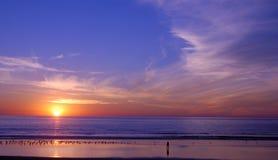 заход солнца пляжа Стоковая Фотография RF