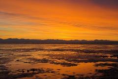 заход солнца пляжа Стоковое фото RF