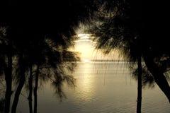 заход солнца пляжа araha Стоковое Изображение