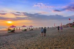 Заход солнца пляжа Legian стоковые изображения