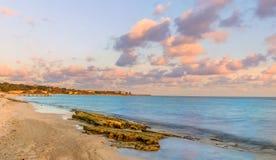 Заход солнца пляжа Spotts стоковое фото rf