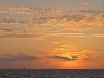 Заход солнца, пляж Torrance, Лос-Анджелес, Калифорния Стоковые Фотографии RF