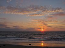 Заход солнца, пляж Torrance, Лос-Анджелес, Калифорния Стоковые Фото