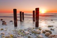 заход солнца положения парка острова медового месяца florida Стоковые Фото