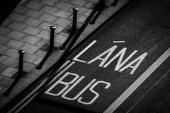 Заход солнца полосы для движения автобусов Стоковая Фотография