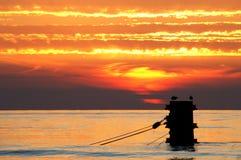 заход солнца Польши Стоковая Фотография