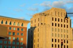 заход солнца померанца зданий boston стоковое фото rf