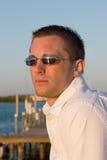 заход солнца портрета dockside мыжской Стоковые Фотографии RF