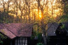 Заход солнца после полудня над немецким лесом t ландшафта коттеджей деревни Стоковые Изображения
