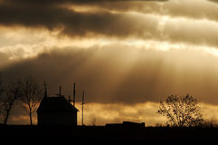 заход солнца потока Стоковые Фото