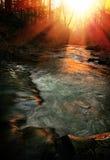 заход солнца потока Стоковые Изображения RF