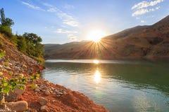 Заход солнца Природа Узбекистана стоковые изображения