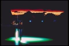 заход солнца пристани рыболовства Стоковая Фотография RF