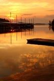 заход солнца пристани рыболовства Стоковые Фото