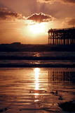 заход солнца пристани стоковая фотография rf