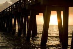 заход солнца пристани Стоковое фото RF