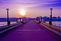 заход солнца пристани Стоковое Изображение