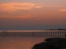 заход солнца пристани nagshead Стоковое Фото