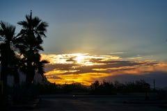 Заход солнца пустыни Аризоны стоковые фотографии rf