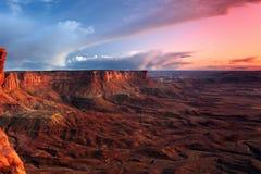 Заход солнца пустыни. Стоковое Изображение