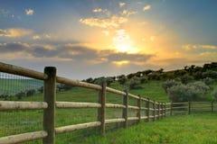 заход солнца ранчо Стоковая Фотография RF