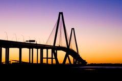заход солнца реки бондаря моста Стоковая Фотография