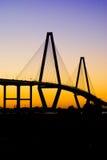 заход солнца реки бондаря моста Стоковое Изображение