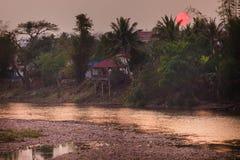 заход солнца реки тропический Стоковое Изображение