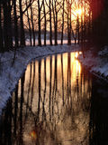 заход солнца реки Стоковое Фото
