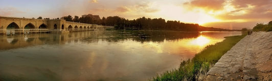 заход солнца реки Стоковая Фотография