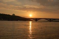 заход солнца реки Стоковые Изображения