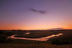заход солнца реки aln Стоковые Фото