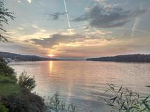 заход солнца реки danube стоковая фотография