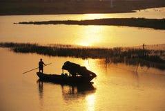 заход солнца реки foshan guangdong малый Стоковые Фотографии RF