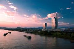 заход солнца реки minjiang Стоковое Фото
