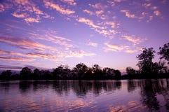 заход солнца реки murray Стоковое Изображение RF
