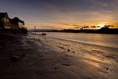 заход солнца реки ouse Англии Стоковое Изображение