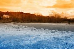 заход солнца реки rapids Стоковое фото RF