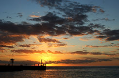 заход солнца реюньона острова Стоковые Изображения