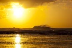 Заход солнца рифа, Кауаи, Гаваи Стоковые Изображения