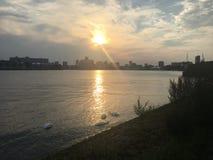 Заход солнца Роттердам Стоковая Фотография