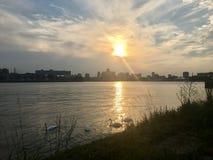 Заход солнца Роттердам Стоковые Изображения RF