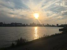 Заход солнца Роттердам стоковые изображения