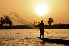 заход солнца рыболова Стоковое Изображение RF