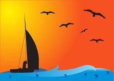 заход солнца рыболовства шлюпки Стоковая Фотография RF